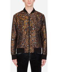 Dolce & Gabbana Feather-Print Jacquard Jacket - Schwarz