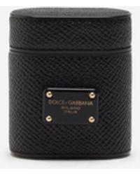 Dolce & Gabbana Airpods-Etui Aus Dauphine-Kalbsleder - Schwarz