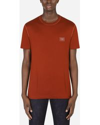 Dolce & Gabbana Cotton T-Shirt With Logoed Plaque - Multicolor