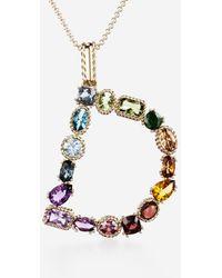 Dolce & Gabbana Rainbow Alphabet D Pendant In Yellow Gold With Multicolor Fine Gems - Metallizzato