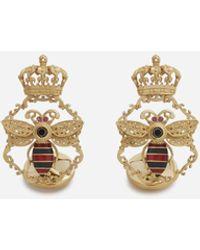 Dolce & Gabbana King Cufflinks In Yellow Gold With Enamel And Black Diamonds - Metallic