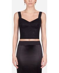 Dolce & Gabbana Corset Style Bustier Top In Sheath Jacquard And Lace - Nero