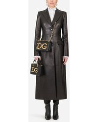 Dolce & Gabbana Single-breasted Leather Coat - Black
