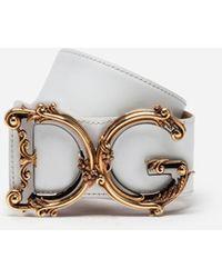 Dolce & Gabbana Cintura In Vitello Con Logo - Bianco