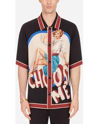 Dolce & Gabbana T-Shirt Aus Cady Pin-Up-Print - Schwarz