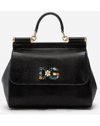 Dolce & Gabbana Mitellgroße Tasche Sicily Aus Kalbsleder Mit Leguanprint Und Dg-Logo-Patch Mit Kristallen - Schwarz