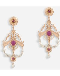 Dolce & Gabbana Baroque-style Earrings With Rubies - Metallic