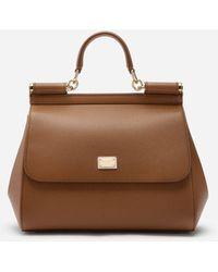 Dolce & Gabbana Medium Dauphine Leather Sicily Bag - Brown