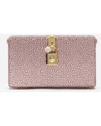 Dolce & Gabbana Dolce Box Clutch With Heat-applied Rhinestones - Pink