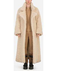 Dolce & Gabbana Single-Breasted Shearling Coat - Natur