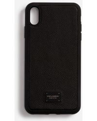 Dolce & Gabbana Dauphine Calfskin Iphone Xr Cover With Branded Plate - Noir