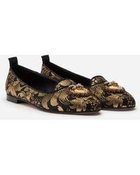Dolce & Gabbana Jacquard Devotion Slippers - Black