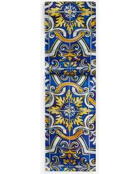 Dolce & Gabbana Silk Scarf With Maiolica Print On A Blue Background