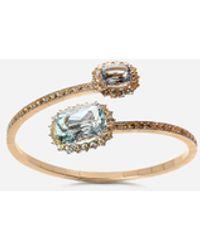 Dolce & Gabbana Heritage Yellow Gold Bracelet With Acquamarine And Yellow Sapphire - Metallic