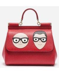 Dolce & Gabbana - Mittelgrosse Tasche Sicily Aus Leder Mit Designer-Patch - Lyst