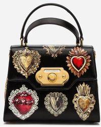 Dolce & Gabbana Handtasche Welcome Aus Bedrucktem Palmellato-Kalbsleder - Schwarz