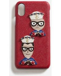 Dolce & Gabbana - Coque Iphone X En Cuir De Veau Dauphine, Avec Écusson Des Créateurs - Lyst