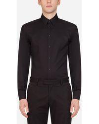 Dolce & Gabbana Striped Gold Cotton Shirt - Schwarz