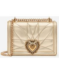Dolce & Gabbana - Small Devotion Crossbody Bag In Quilted Nappa Mordore Leather - Lyst