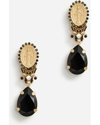 Dolce & Gabbana Pendant Earrings With Votive Decorations And Rhinestones - Multicolore