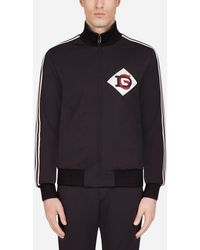 Dolce & Gabbana Zip-up Sweater With Dg Patch - Black
