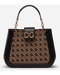 Dolce & Gabbana Petit Sac Dg Amore En Raphia Tressé Et Cuir De Vachette - Noir