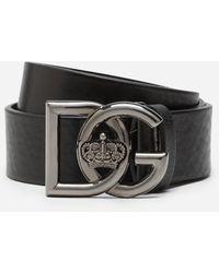 Dolce & Gabbana Tumbled Leather Belt With Dg Crossed Logo - Negro