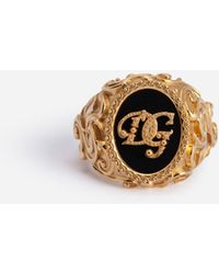 Dolce & Gabbana Metal Ring With Dg Logo - Metallic