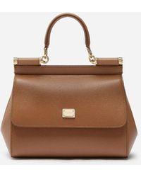 Dolce & Gabbana Small Dauphine Leather Sicily Bag - Marrón