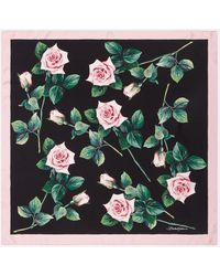 Dolce & Gabbana Tropical Rose Print Twill Foulard 70 X 70 - Multicolour