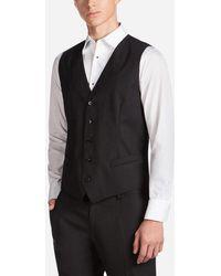 Dolce & Gabbana Five Button Vest In Wool - Black