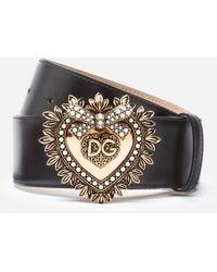Dolce & Gabbana Devotion Logo Belt Leather Black