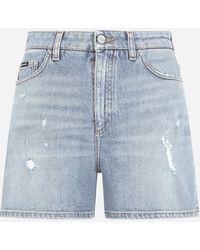 Dolce & Gabbana Light Blue Stretch Denim Shorts