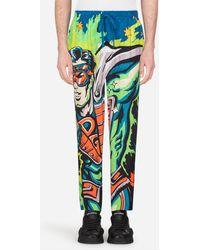 Dolce & Gabbana Pajama Pants With Superhero King Print - Blue