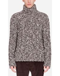 Dolce & Gabbana Oversize Wool Cable-Knit Turtle-Neck Sweater - Bianco