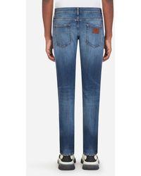 Dolce & Gabbana Skinny Stretch Jeans With Patch - Blau