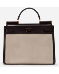 Dolce & Gabbana Big Sicily 62 Bag In Canvas And Cowhide - Natural