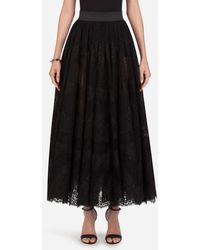 Dolce & Gabbana Long Lace Plumetis Skirt - Noir