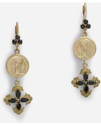 Dolce & Gabbana Boucles D'Oreilles Pendantes Avec Saphirs - Métallisé