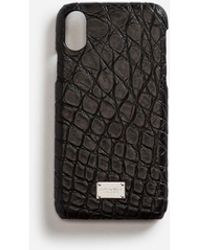 Dolce & Gabbana Iphone X Cover With Details In Crocodile - Black