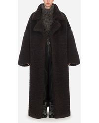 Dolce & Gabbana Double-Breasted Shearling Coat - Braun