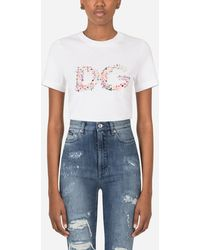 Dolce & Gabbana Jersey T-Shirt With Dg Floral Embroidery - Weiß