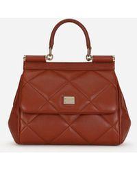 Dolce & Gabbana Small Sicily Bag In Aria Matelassé Calfskin - Braun