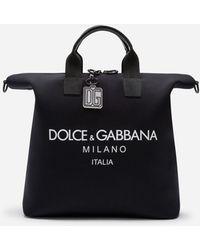 Dolce & Gabbana Technical Neoprene Palermo Bag With Printed Logo - Black