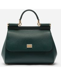 Dolce & Gabbana Mittelgrosse Sicily Tasche Aus Dauphine-Leder - Grün