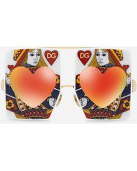 Dolce & Gabbana - Acetate Sunglasses With Queen Of Hearts Printâ - Lyst