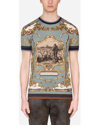 Dolce & Gabbana - Cotton T-Shirt With Shepherd Print - Lyst