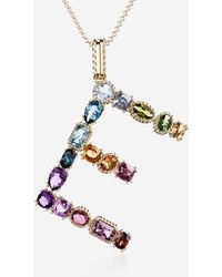 Dolce & Gabbana Rainbow Alphabet E Pendant In Yellow Gold With Multicolor Fine Gems - Mettallic