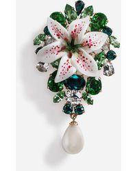 Dolce & Gabbana Brosche Mit Lilien Aus Kunstharz Und Strass Verziert - Mettallic
