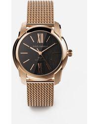 Dolce & Gabbana Dg7 Watch In Red Gold With Milano Mesh Bracalet - Mettallic